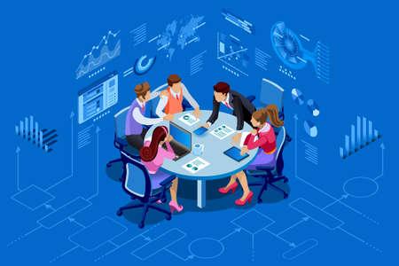 Concept de gestion contemporaine équipe isométrique. Peut utiliser pour la bannière Web, les infographies, les images de héros. Illustration vectorielle isométrique plate isolée sur fond bleu. Vecteurs