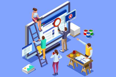Izometryczne obrazy ludzi do tworzenia ilustracji SEO. Można używać do banerów internetowych, infografik, obrazów bohaterów. Płaskie izometryczne wektor ilustracja na białym tle na niebieskim tle. Ilustracje wektorowe
