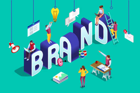 Brand vector text with employers working on branding design. Flat Isometric people illustration isolated on blue background. Can use for web banner, infographics, hero images.