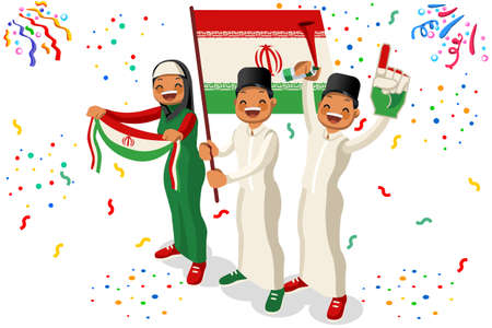 2018 Iran football supporters. Cheerful soccer supporters crowd with Iranian flag. Flat isometric people celebrating Iran national day vector illustration for web banner.