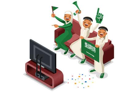 2018 Saudi Arabia football supporters. Cheerful soccer supporters crowd and Saudi Arabian flag. Flat isometric people celebrating Saudi Arabia national day vector illustration image.