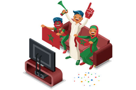 2018 Morocco football supporters. Cheerful soccer supporters crowd and Moroccan flag. Flat isometric people celebrating Morocco national day vector illustration hero images, banner.