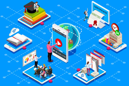 Education conference and meeting web certificate on isometric device. Education illustration for banner, infographics, hero images. Flat isometric vector illustration isolated on blue background. Ilustracja