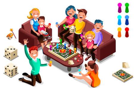 Volwassenen vrije tijd, bordspellen isometrische mensen activiteit. Cartoon illustratie voor webbanner, infographics, heldenafbeeldingen. Plat isometrische karakters, vectorillustratie geïsoleerd op een witte achtergrond.