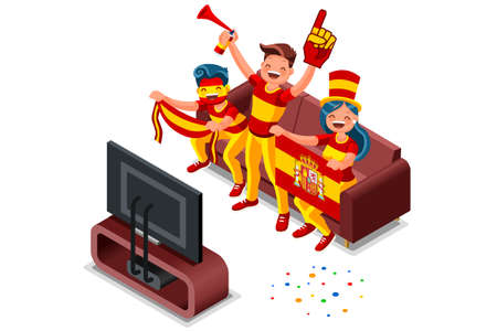 2018 Spanish football supporters. Cheerful soccer supporters crowd and Spain flag. Flat Isometric people celebrating Spanish national day vector illustration web banner, hero images. Illusztráció