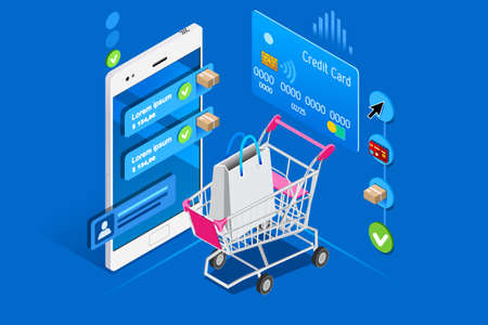Cart and shopping interface on user phone, isometric concept. Shopping illustration for web banner, infographics, hero images. Flat isometric vector illustration isolated on blue background.