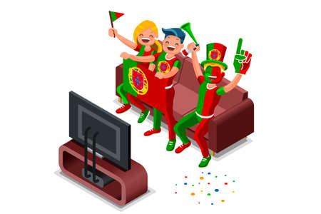 2018 Portuguese football supporters. Cheerful soccer supporters crowd and Portugal flag. Flat Isometric people celebrating Portuguese national day vector illustration hero images. Illusztráció
