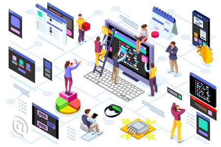 Programming software interface on device by engineers. Application for company project. A space of professional solutions for systems and softwares. Conceptual illustration. Isometric people vector. Illusztráció