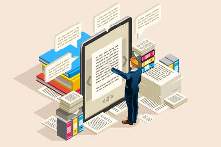 Textbook, publish paper for online access on electronic notebook or read object. Can use as clipart or sticker for web banner, infographics, hero images. Flat isometric vector illustration. Vectores