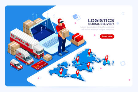 Industry of shipment, web delivery and parcel concept. Carry man, free courier and express delivery. Infographics with worker boy for web banner or hero images. Isometric people vector illustration.