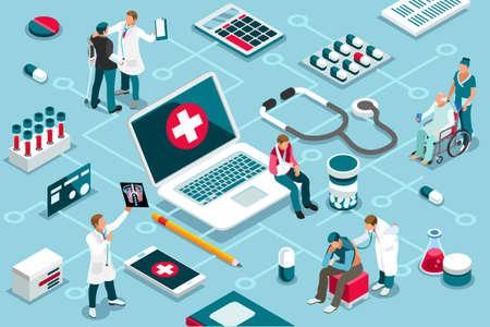 Behandlung, klinische Unterstützung bei medizinischen Dienstleistungen. Patientenkonzept und Klinikdiagnose. Patientenunterstützung mit Gesundheitstechnologie. Infografiken, Banner. Flache Bilder, Vektorillustration.