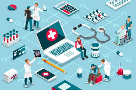 Treatment, clinic assistance on medicine services. Patient concept and clinic diagnosis. Patient assistance with healthcare technology. Infographics, banner. Flat images, vector illustration. Vectores