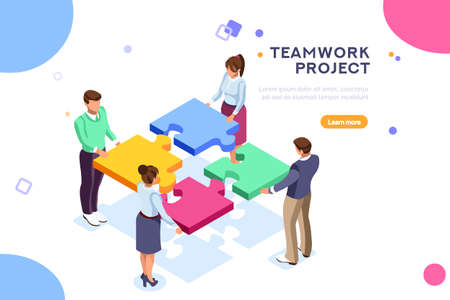 Conceptual web seo illustration. Landing page for stylish website. Teamwork project, web agency or male young employee and new company project. Sticker for web banner. Flat isometric vector images.
