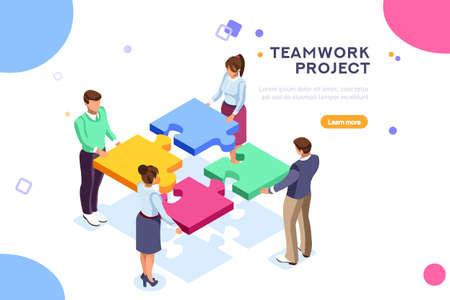 Konzeptionelle Web-SEO-Illustration. Landingpage für stilvolle Website. Teamwork-Projekt, Webagentur oder männlicher junger Mitarbeiter und neues Unternehmensprojekt. Aufkleber für Web-Banner. Flache isometrische Vektorbilder. Vektorgrafik