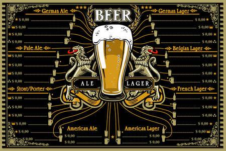 Beer menu or pub placemat for stube. German ale, stout, lager, porter. Food illustration for food truck hipster layout. Flat vector design.