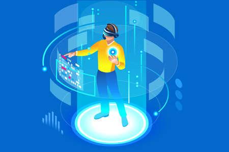 Hacia el futuro, hombre isométrico con tecnología y realidad virtual conmovedora, vr aumentada. Interfaz de gadget para entretenimiento, dispositivo para pago virtual o transacción en línea. Ilustración vectorial.