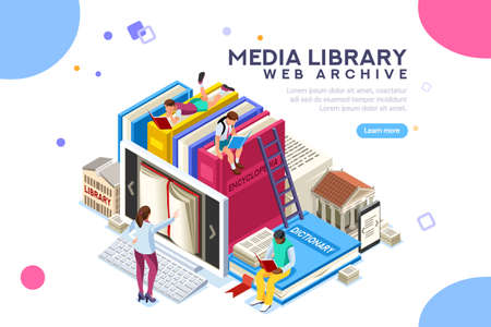 Woordenboek, bibliotheek of encyclopedie of webarchief. Technologie en literatuur, digitale cultuur op mediabibliotheek. Clipart stickerpictogram voor webbanner. Plat isometrische mensen afbeeldingen, vector illustratie. Vector Illustratie