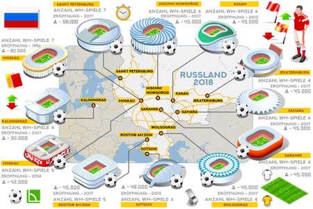 Russia 2018 map football stadium landmark infographic in German language. Soccer icon set arena strategy   vector illustration.