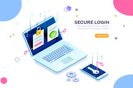 Smartphone safe certificate, two identity authentication concept. Verify permission request. Used for web banner or infographic images. Flat isometric vector illustration isolated on white background. Stok Fotoğraf - 103746385