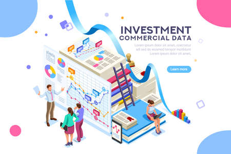Finance and commercial investment analysis work. Seal concept on official documents clipart. Infographics for web banner or hero images. Flat isolated isometric people vector illustration. Foto de archivo - 103746387