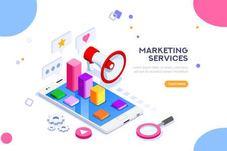Agence et concept de marketing numérique. Médias sociaux pour le Web. Peut être utilisé pour la bannière Web, les infographies, les images de héros. Illustration vectorielle plane isométrique isolée sur fond blanc.