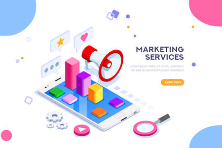 Agency and digital marketing concept. Social media for web. Can use for web banner, infographics, hero images. Flat isometric vector illustration isolated on white background. Illusztráció