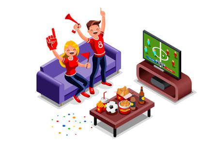 Friends, football fans watching   game on tv. Can use for web banner, infographics, hero images. Flat isometric character, sports vector illustration isolated on white background. Stock Illustratie