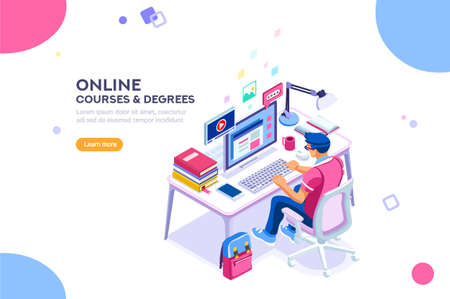 Student character study at computer. Web guy and network, man reading for graduation. Can use for web banner, infographics, hero images. Flat isometric vector illustration isolated on white background Vectores