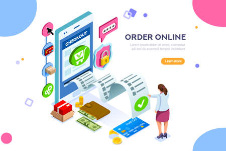 Analysis, statistics, online services. Financial transaction, mobile bank on smartphone. Images can used for web banner or infographics. Flat isometric vector illustration isolated on white background Illustration