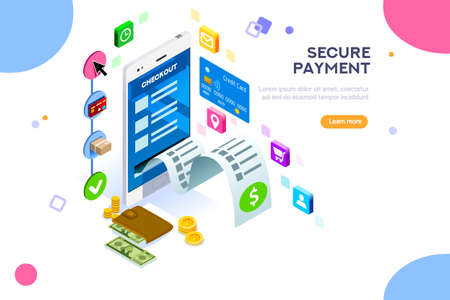 Online payment. Internet payments, protection of money in cellphone transactions. Can use for web banner, infographics, hero images. Flat isometric vector illustration isolated on white background. Stock Illustratie
