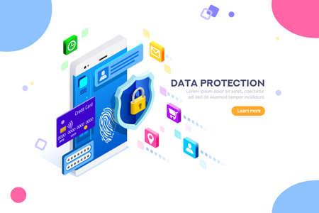 Uwierzytelnianie w zakresie bezpieczeństwa cybernetycznego, dostęp przez szyfrowanie do sieci lub komputera. Można używać do banerów internetowych, infografik, obrazów bohaterów. Płaskie izometryczne wektor ilustracja na białym tle.
