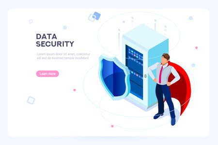 Asegure la base de datos dura. Seguridad y protección antivirus. Centro o red de centro de datos. Industria de las telecomunicaciones. Concepto de base de datos o red de alojamiento. Imágenes isométricas planas, ilustración vectorial.