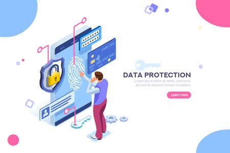 データ保護の概念。クレジットカードの小切手とソフトウェアは機密としてデータにアクセスします。ウェブバナー、インフォグラフィック、ヒーロー画像に使用できます。白い背景に分離された平面アイソメ図。