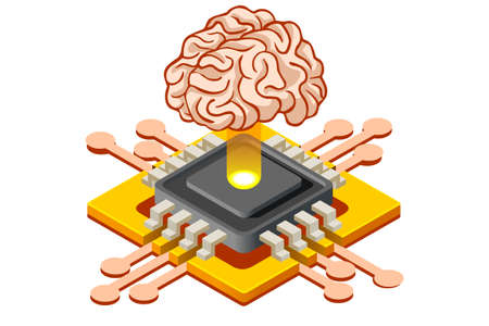 Learning machine mind, artificial intelligence banner. Application for pc connection to learning application. Can use for infographics. Flat isometric vector illustration isolated on white background.