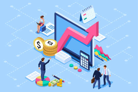 Financial administration concept. Consulting, characters at consultant meeting or auditing concept. Audit, business statement concept. Statistic plan images. Flat isometric infographics for banner. Foto de archivo - 115189832