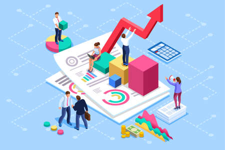 Financial administration concept. Consulting, characters at consultant meeting or auditing concept. Audit, business statement concept. Statistic plan images. Flat isometric infographics for banner.