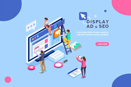 Seo optimization, website pay per click concept. Development group characters, team work together on web images. People flat isometric infographics or banner. Illustration isolated on white background Stock Vector - 103781283