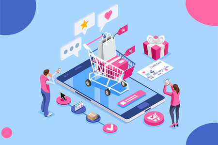 Order online, shopping concept. Customer character with gift. Mobile pay with credit card. Can use for web banner, infographics, hero images. Flat isometric illustration isolated on white background.
