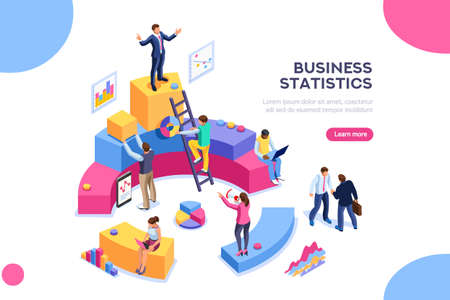 Financial administration concept. Consulting for company performance, analysis concept. Statistics and business statement. Flat isometric infographics for banner or business hero images.