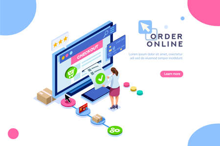 Purchase, customer order online, concept of sale. Character at shopping. Vector cart, can use for web banner, infographics, hero images. Flat isometric illustration isolated on white background. Illustration