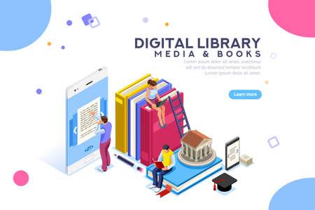 Concepto de biblioteca de libros multimedia. Libro electrónico, lectura de un libro electrónico para estudiar en la biblioteca electrónica en la escuela. E-learning online, archivo de libros. Ilustración de vector de personajes planos isométricos. Página de destino para web.
