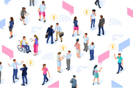 Brainstorm infographic with isometric characters. Group for development resources. Idea concept for social media solutions. Flat isometric people illustration vector isolated on white background. Illustration