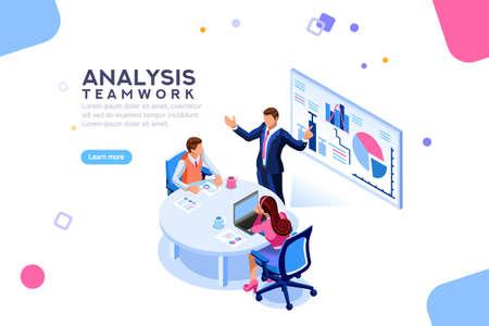 Gestión de proyectos y estrategia de informes financieros. Equipo de consultoría. Concepto de colaboración con personas colaborativas. Planificación de análisis de negocio isométrico. Ilustración de vector de personajes planos isométricos.