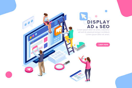Coding people team work together. Seo optimization for target searching process. Pay click social content development tool. Flat Isometric characters vector illustration. Display campaign.