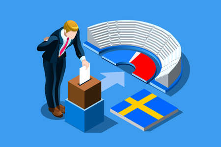 Sweden election voting concept with characters. Isometric people, Swedish man putting vote in the ballot box. Flat Isometric character illustration. Landing page for web. Ilustrace