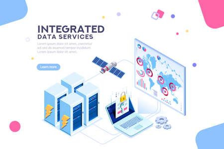 Estación de energía del futuro. hardware de centro de datos global, red de servidores electrónicos para soluciones de software para compartir información en red digital. tecnología ethernet. Vector de ilustración plana isométrica