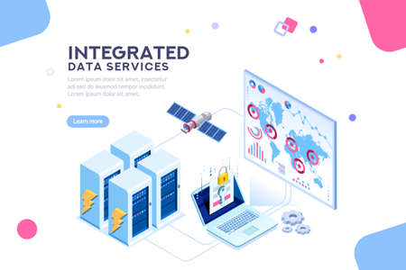 Energy station of future. hardware of global data center, electronic server net for software solutions to share informations on digital network. ethernet technology. Flat isometric illustration vector Illustration