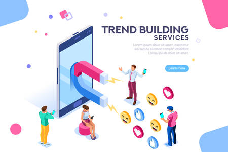 Social media concept with characters. Followers follow social trend, people talking and share a chat, tag or post comment online. Characters isometric flat illustration isolated on white background.