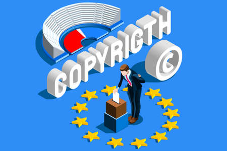 Copyright European Regulation. European Union Parliament voting content property copyright law. Europe author rights protection vote. EU flag Flat isometric vector illustration. Фото со стока - 104187719