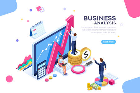Auditing, business analysis concept with characters. Concept of opportunities. Graphic and audit documentation, economic analysis financial budget. Illustration Flat isometric vector background.